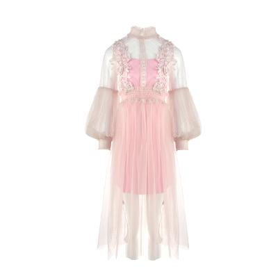 see-through lace dress pink